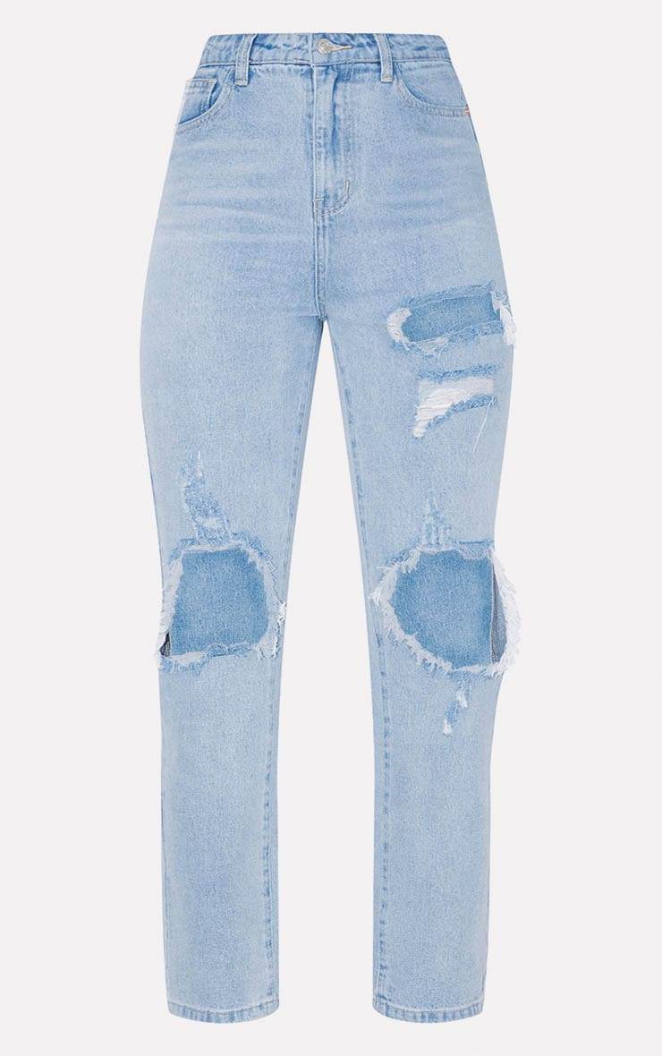 PRETTYLITTLETHING Bleach Wash Distressed Straight Leg Jeans 3