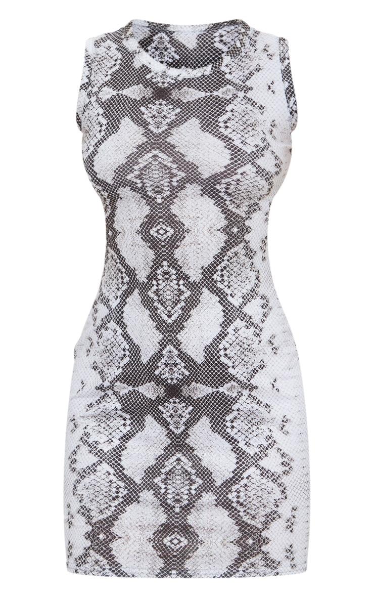 Petite Grey Snake Print Jersey Mini Dress 6