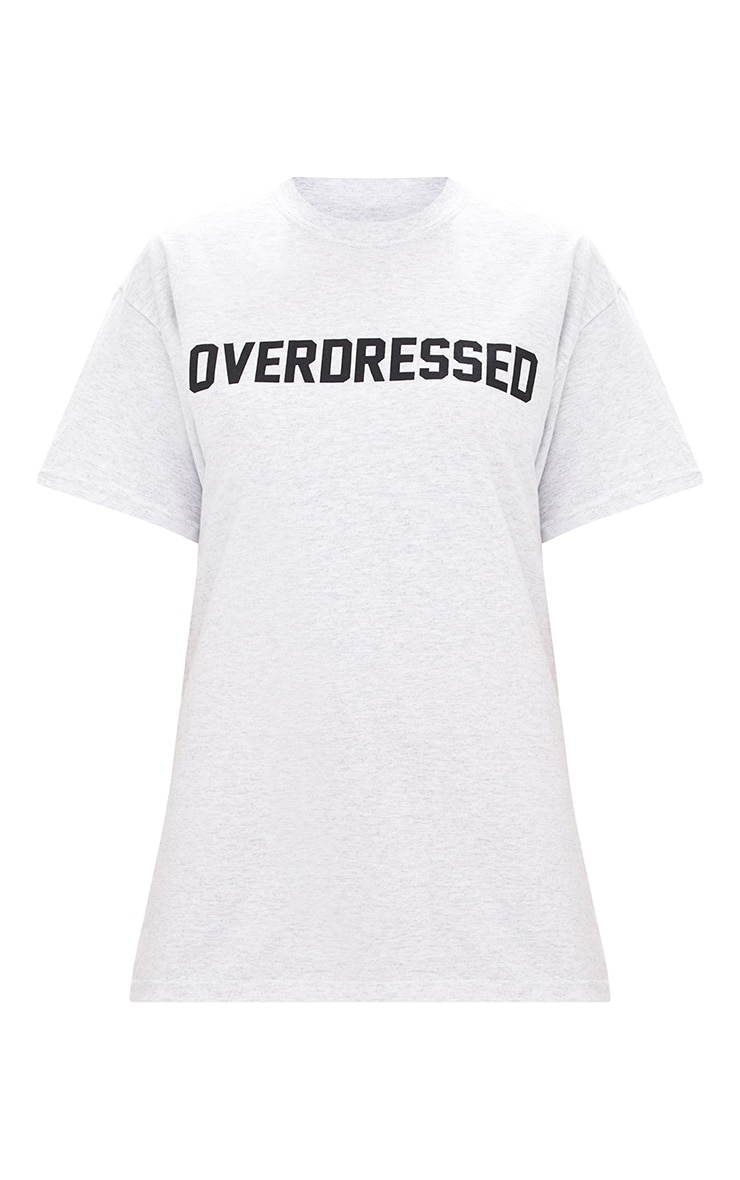OVERDRESSED Slogan Grey Marl T Shirt  3