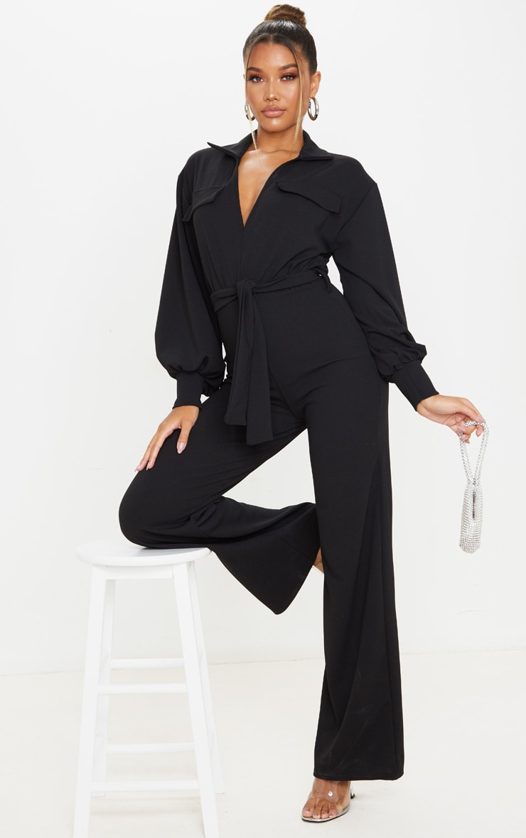 Black Oversized Shirt Style Tie Waist Jumpsuit 3
