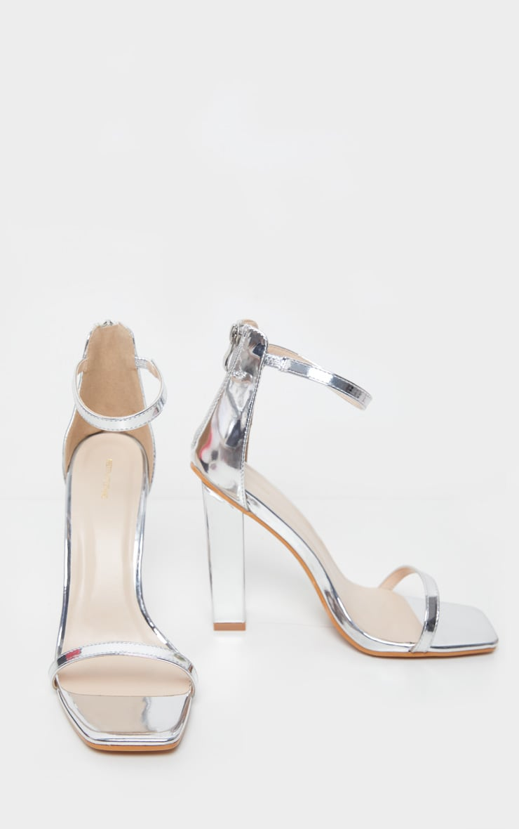 Silver Square Toe High Block Heel Sandal 4