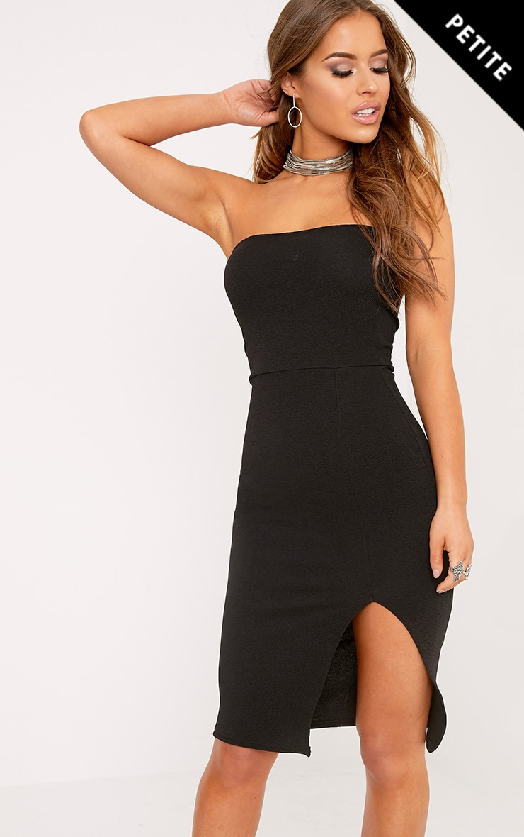 Petite Petunia Black Bandeau Bodycon Midi Dress