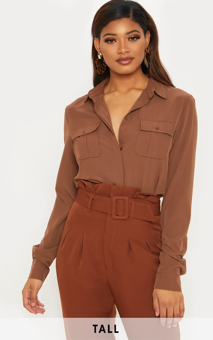 Tall Chocolate Brown Pocket Detail Shirt