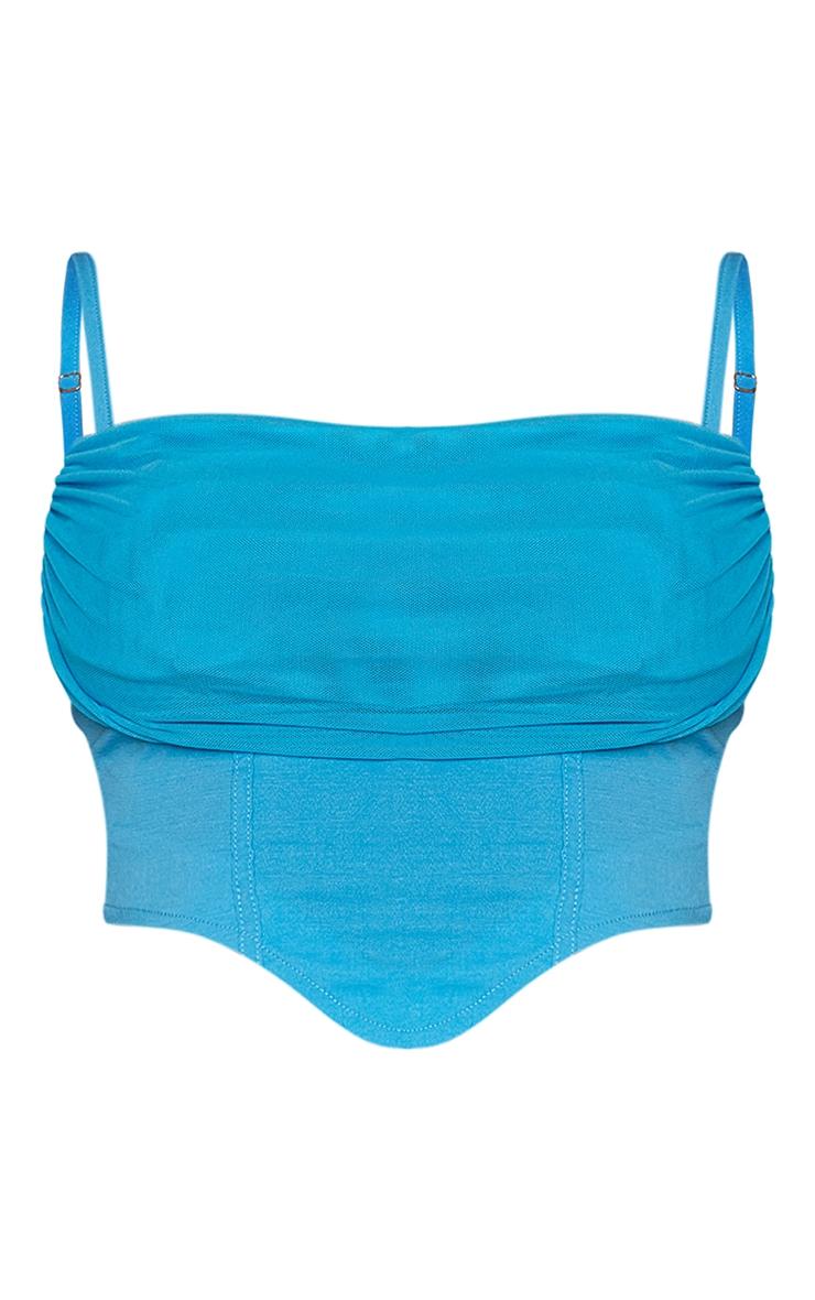 Bright Blue Woven Chiffon Drape Bust Detail Dip Hem Strappy Corset 5
