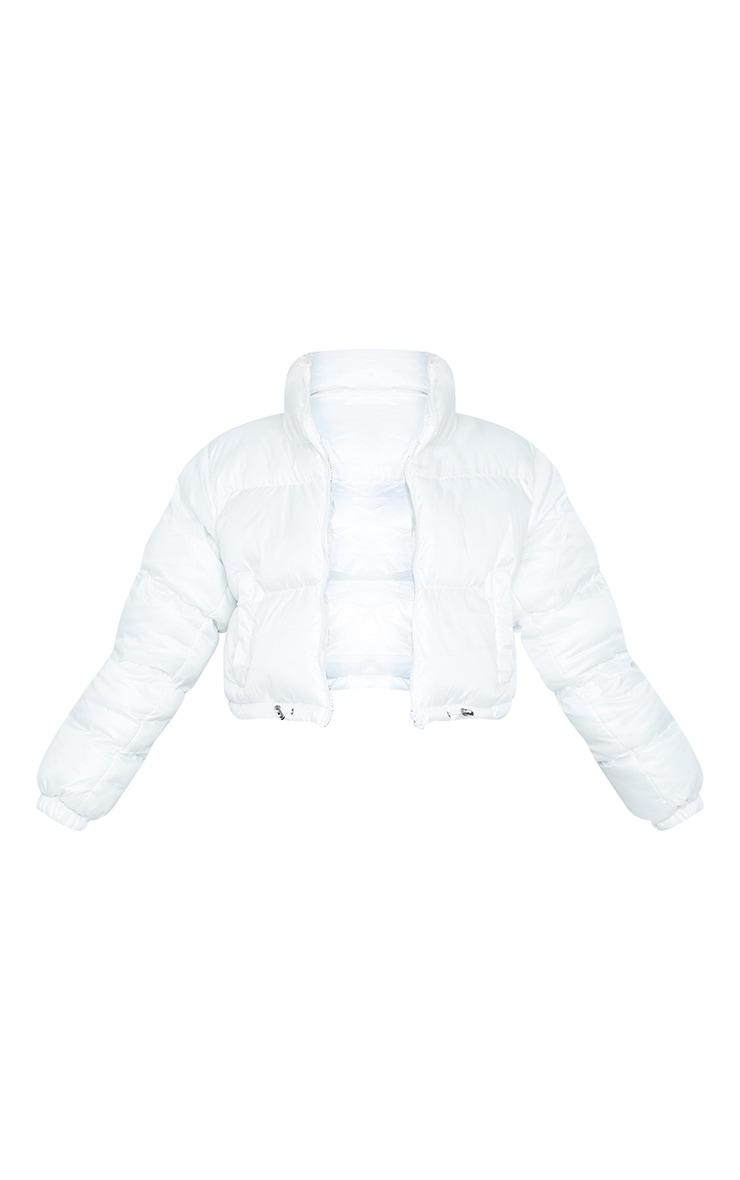 White Nylon Toggle Hem Puffer Jacket 5