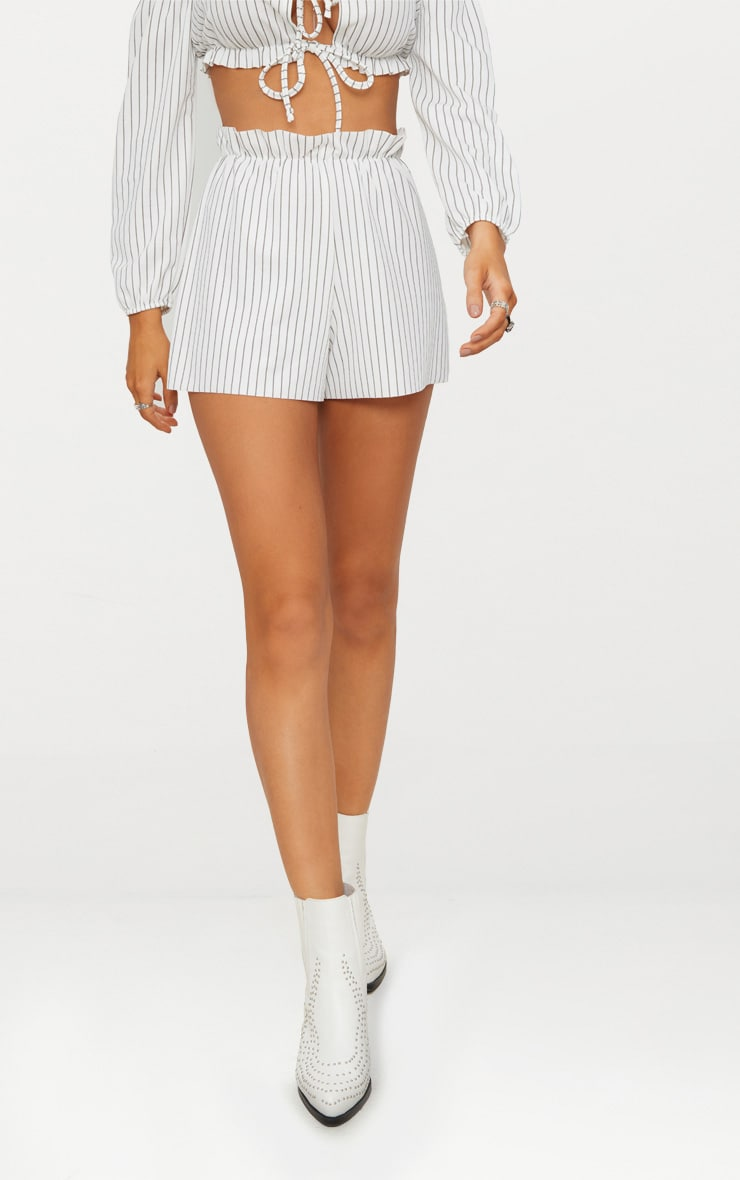 White Ruched Stripe Waist Floaty Shorts 2
