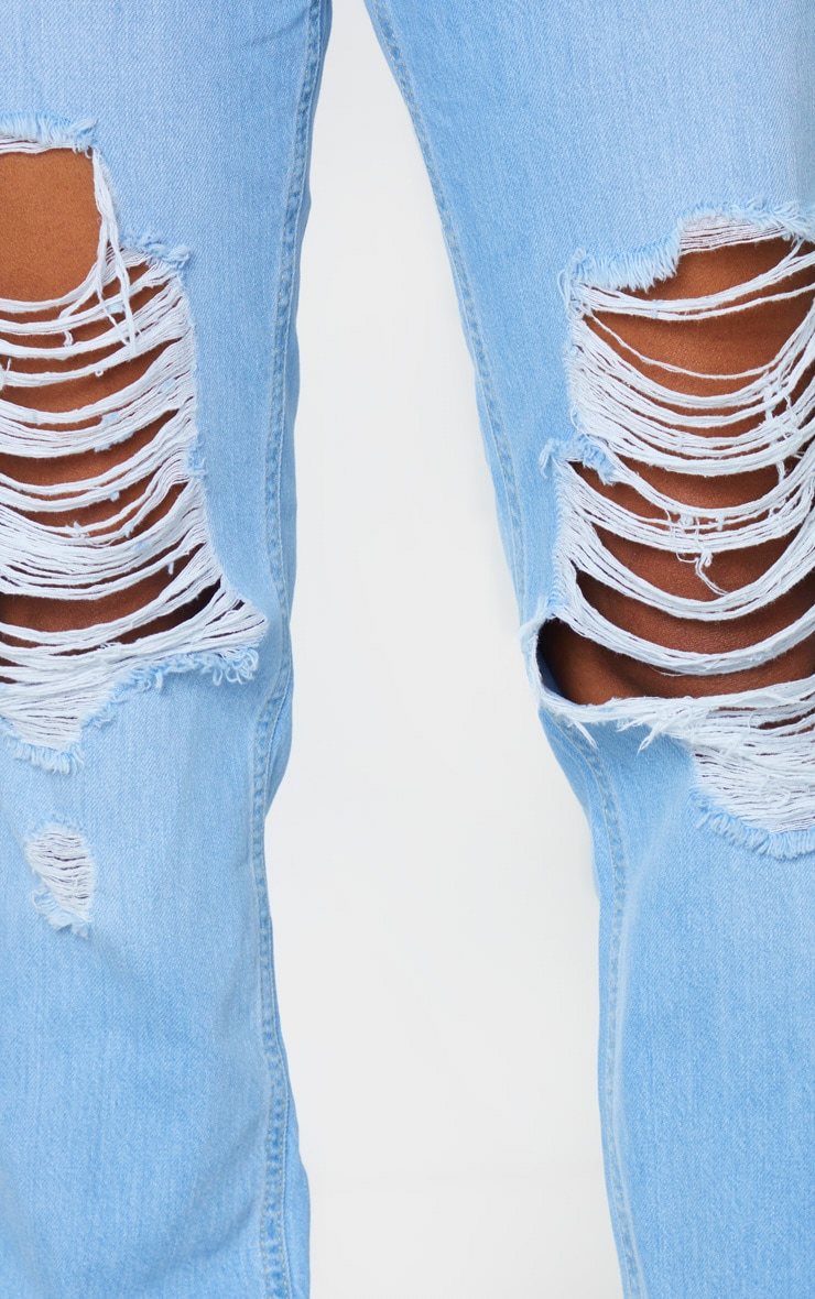 Shape Light Wash Denim Extreme Rip Boyfriend Jeans 5