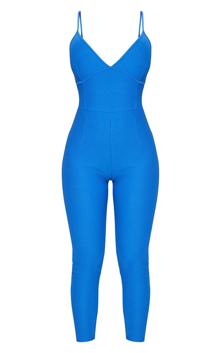 Blue Rib Plunge Binding Detail Strappy Jumpsuit 5