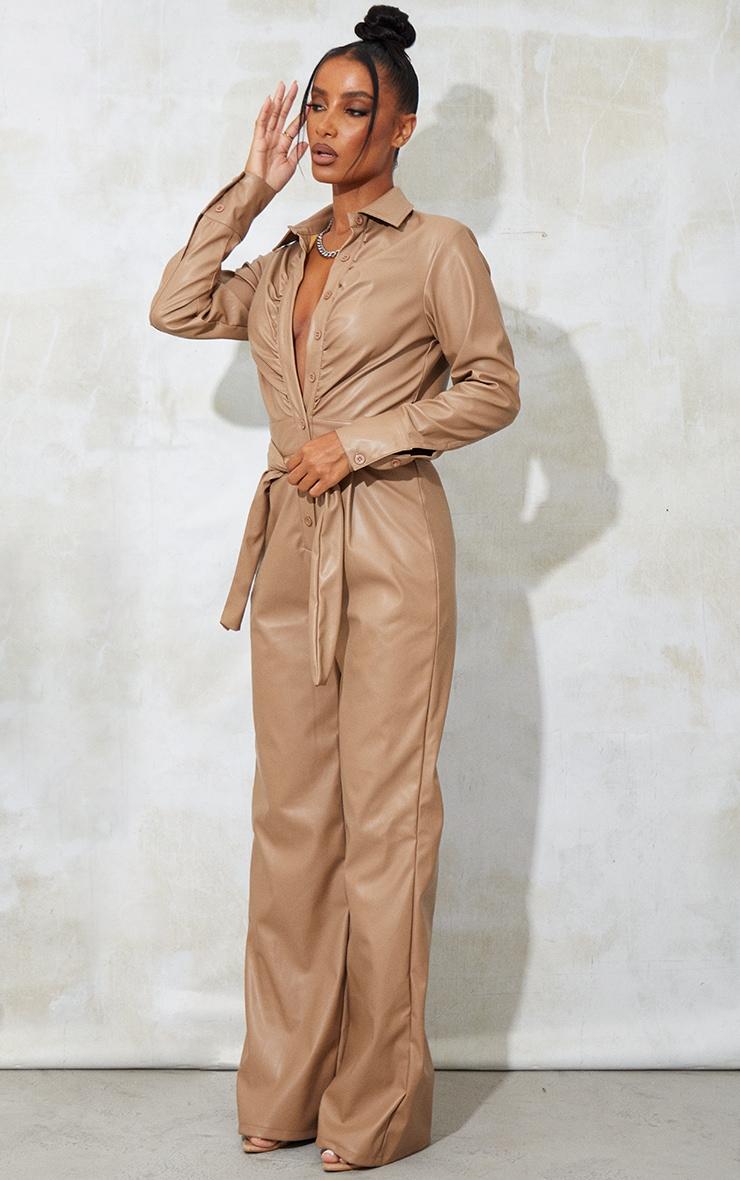 Camel  Ruched Shirt Wide Leg Pu Jumpsuit 1