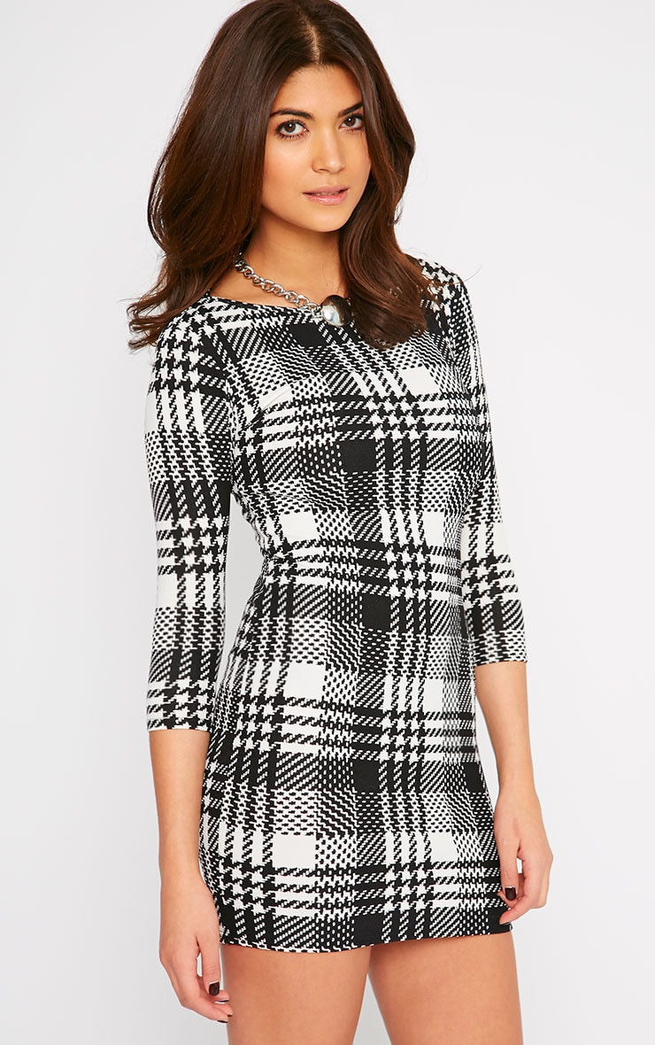 Darla Monochrome Checked Dress 1