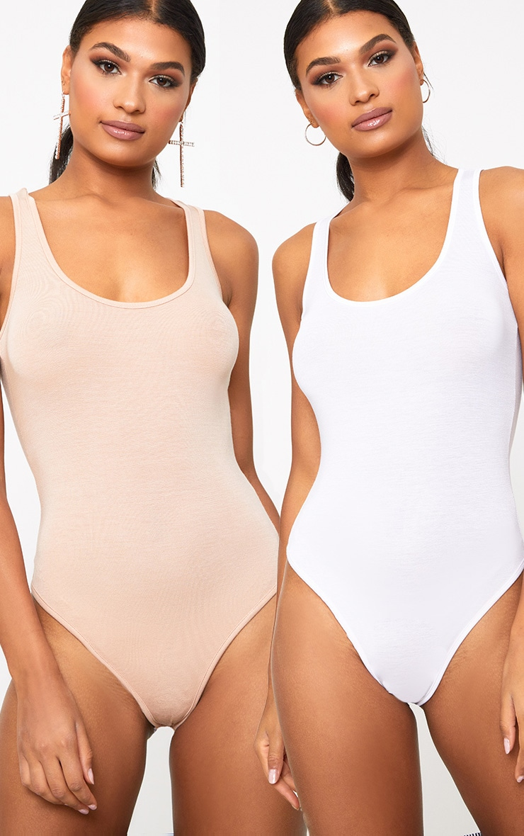 Basic White & Nude Racer Back Bodysuit 2 Pack 1