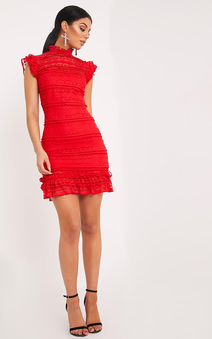 Clariya Red Frill Neck Ruffle Layer Lace Bodycon Dress  4