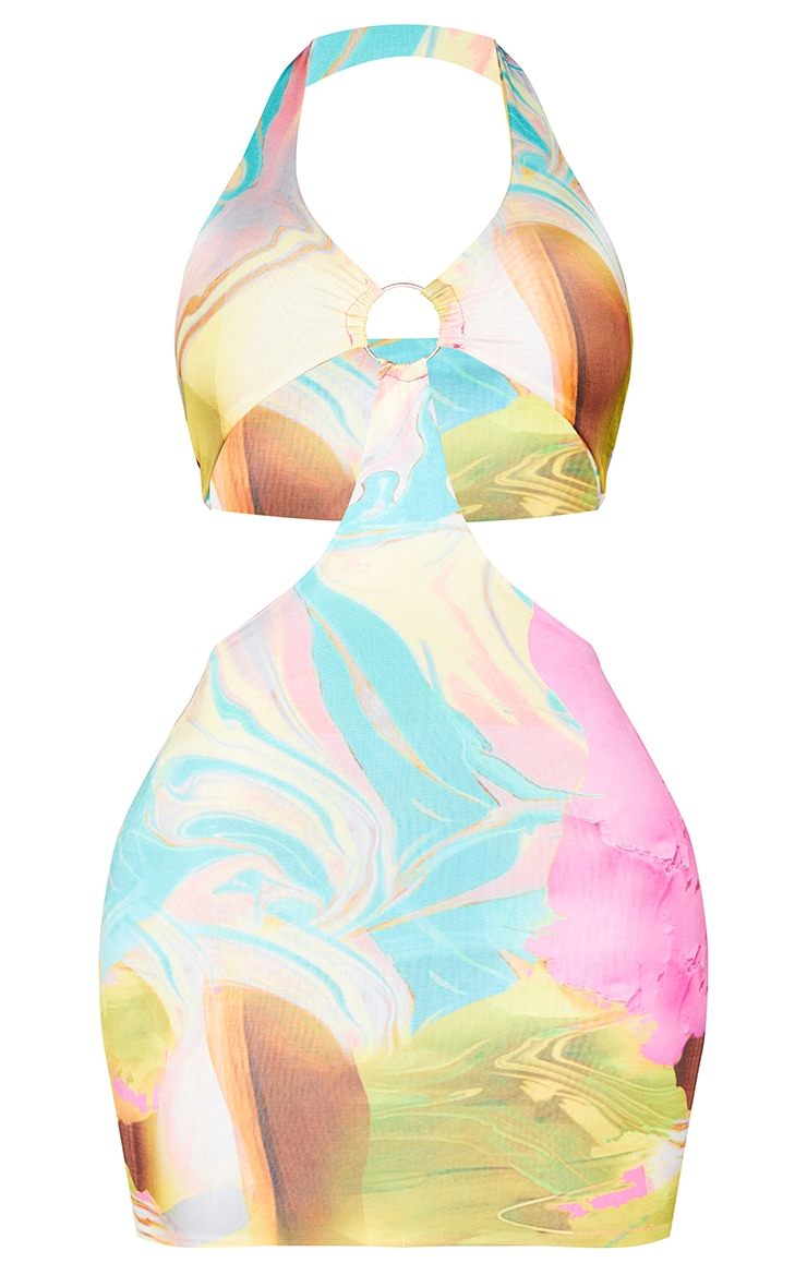 Shape Fuchsia Marble Print Slinky Ring Detail Cut Out Bodycon Dress 5