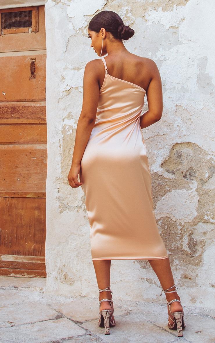 Peach Asymmetric Satin Midi Dress  2
