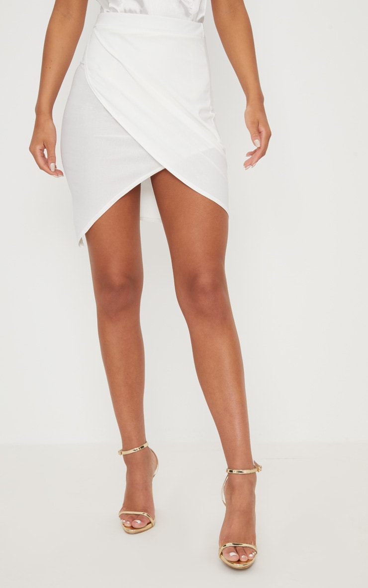 Cream Crepe Asymmetric Hem Wrap Skirt 2