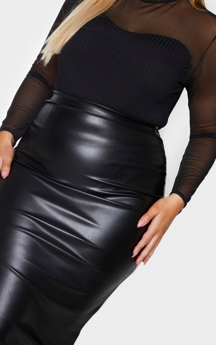 Plus Black PU Split Back Midaxi Skirt 4