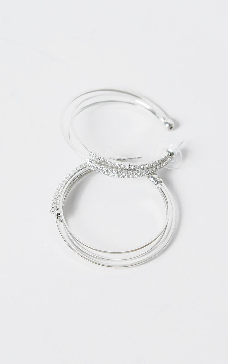 Silver Triple Diamante Medium Hoop Earring 4