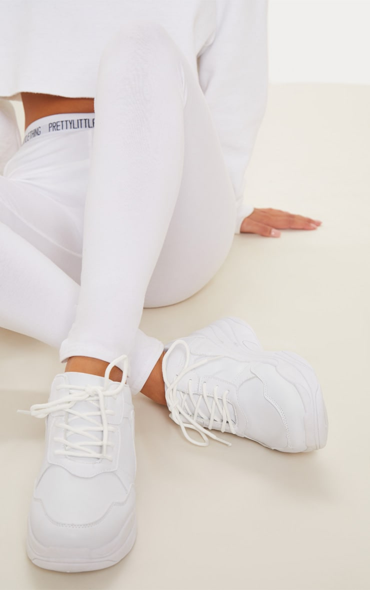 White Chunky Sole Lace Up Sneakers 1