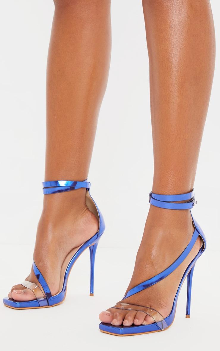 Blue Metallic Square Toe Asymmetric Strap Sandal