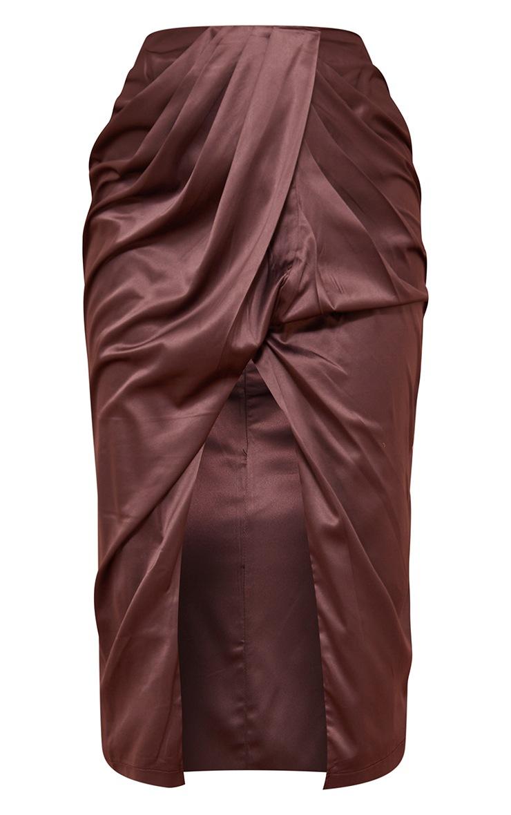 Chocolate Brown Satin Ruched Front Split Leg Midi Skirt 5