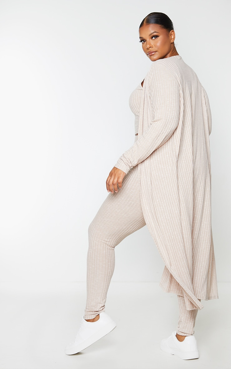 Plus Oatmeal Knitted 3 Piece Legging Set 2