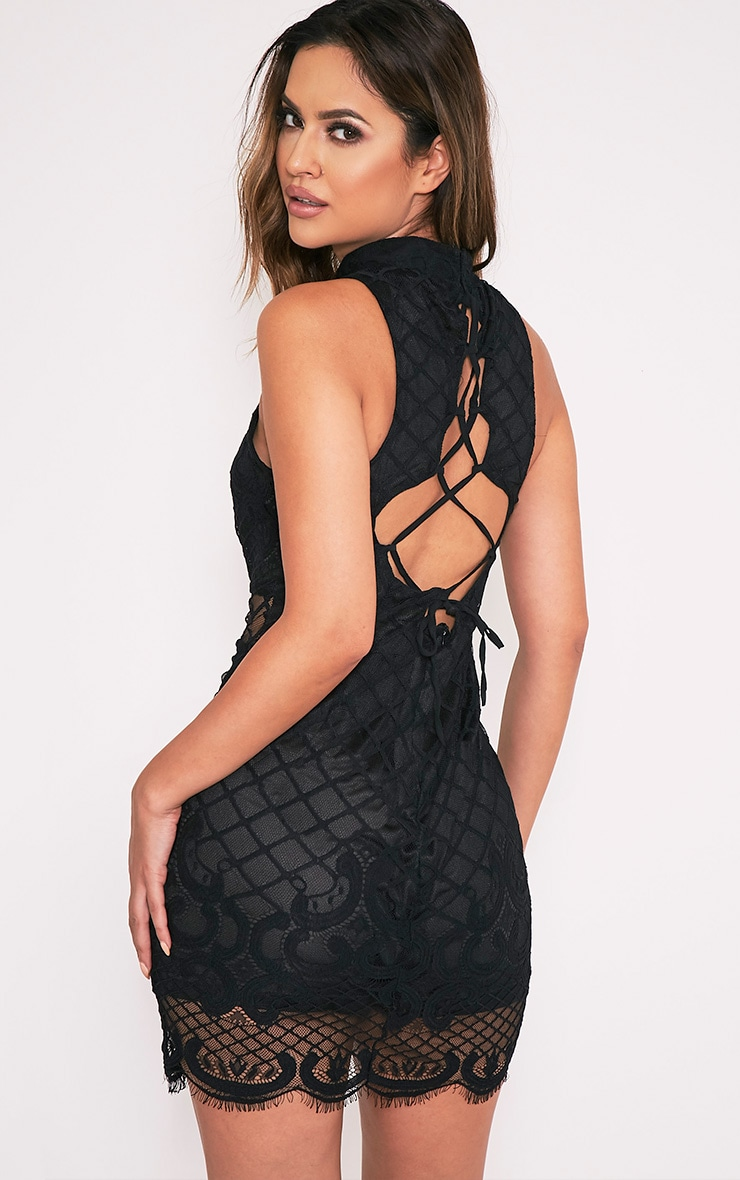 Aura Black Lace Up Back Bodycon Dress 4
