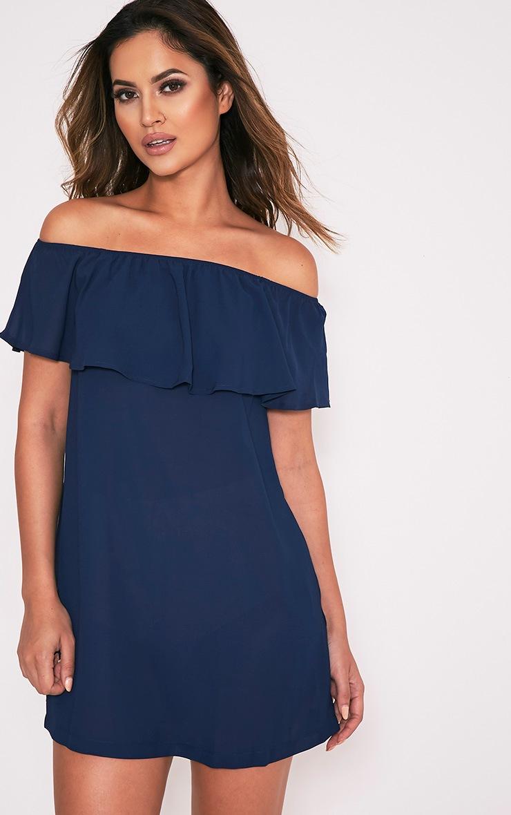 Poppy robe mini en mousseline de soie bardot bleu marine 1