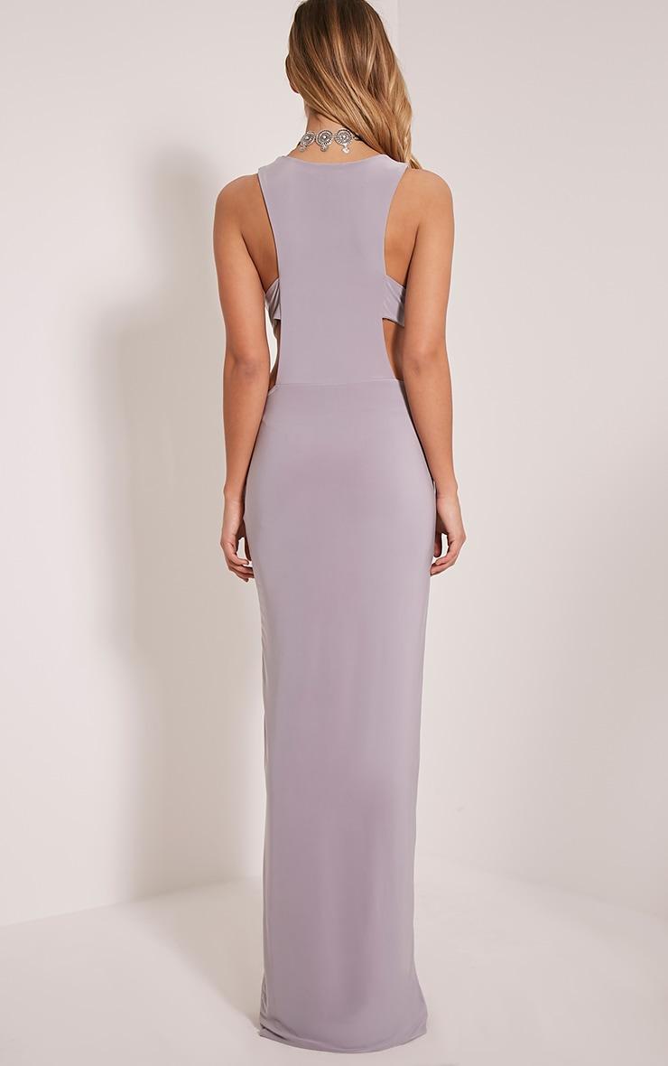 Mayah Grey Deep Plunge Tab Side Maxi Dress 2