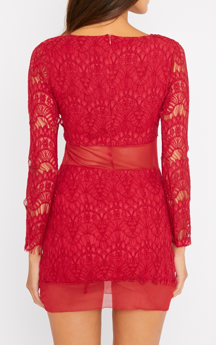 Bailey Red Premium Lace Mini Dress 2
