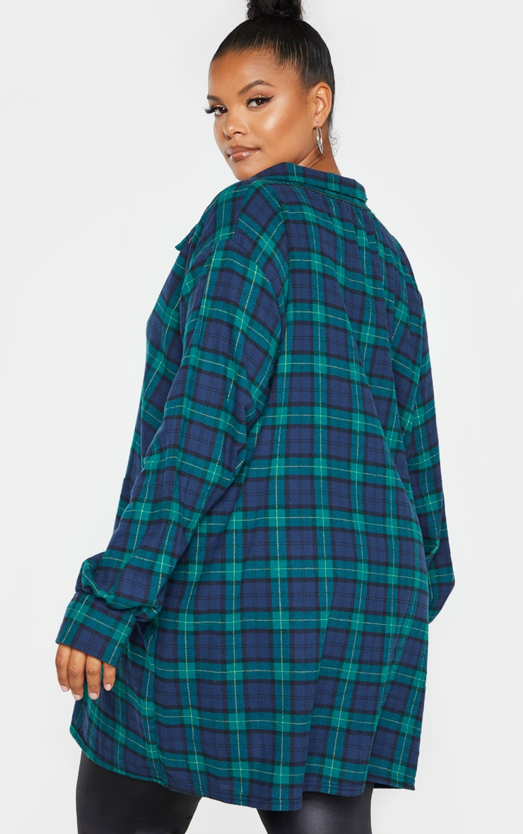 Plus Green Oversized Check Shirt Dress  2
