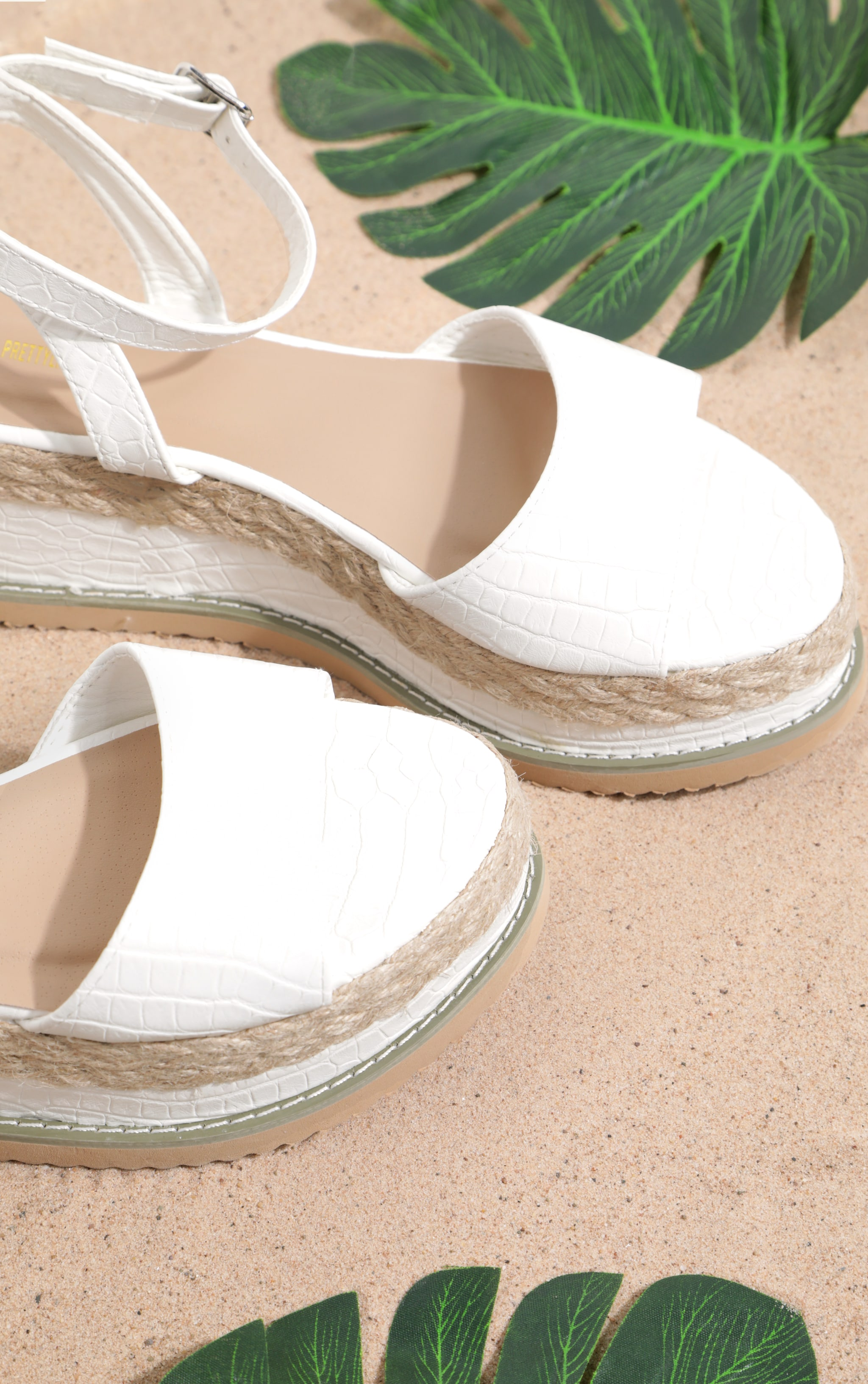 White Croc Faux Leather Flatform Sandal 4