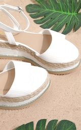 White Croc Faux Leather Flatform Sandal 4