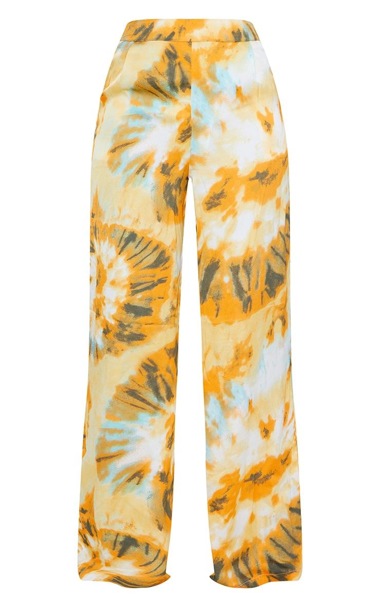 Orange Tie Dye Wide Leg Trousers 5