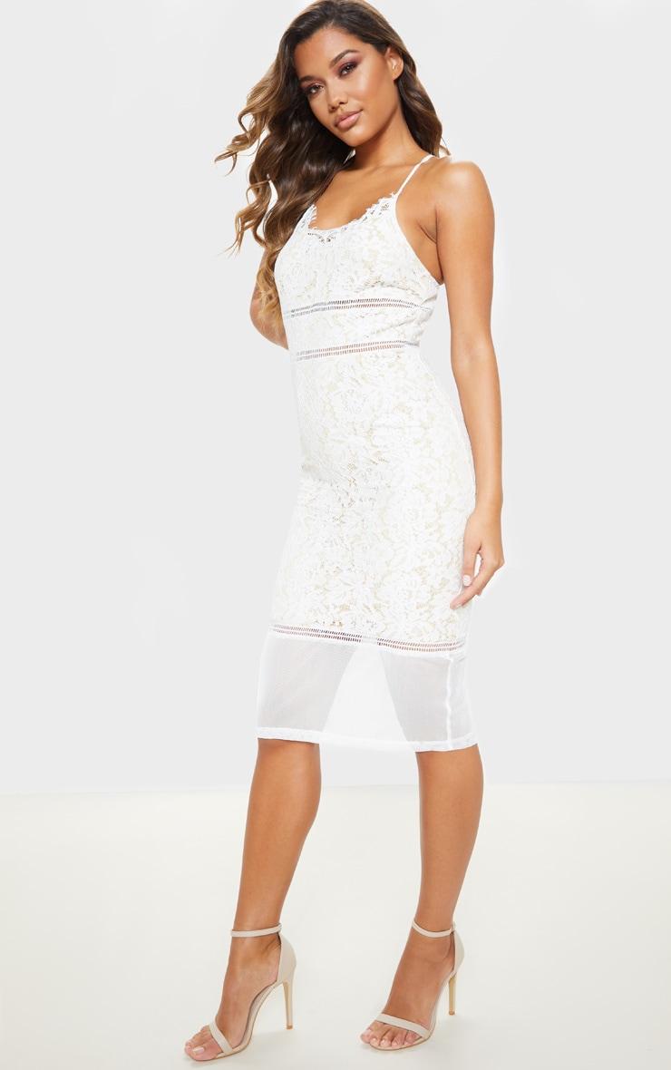 White Lace Cross Back Strappy Midi Dress 4