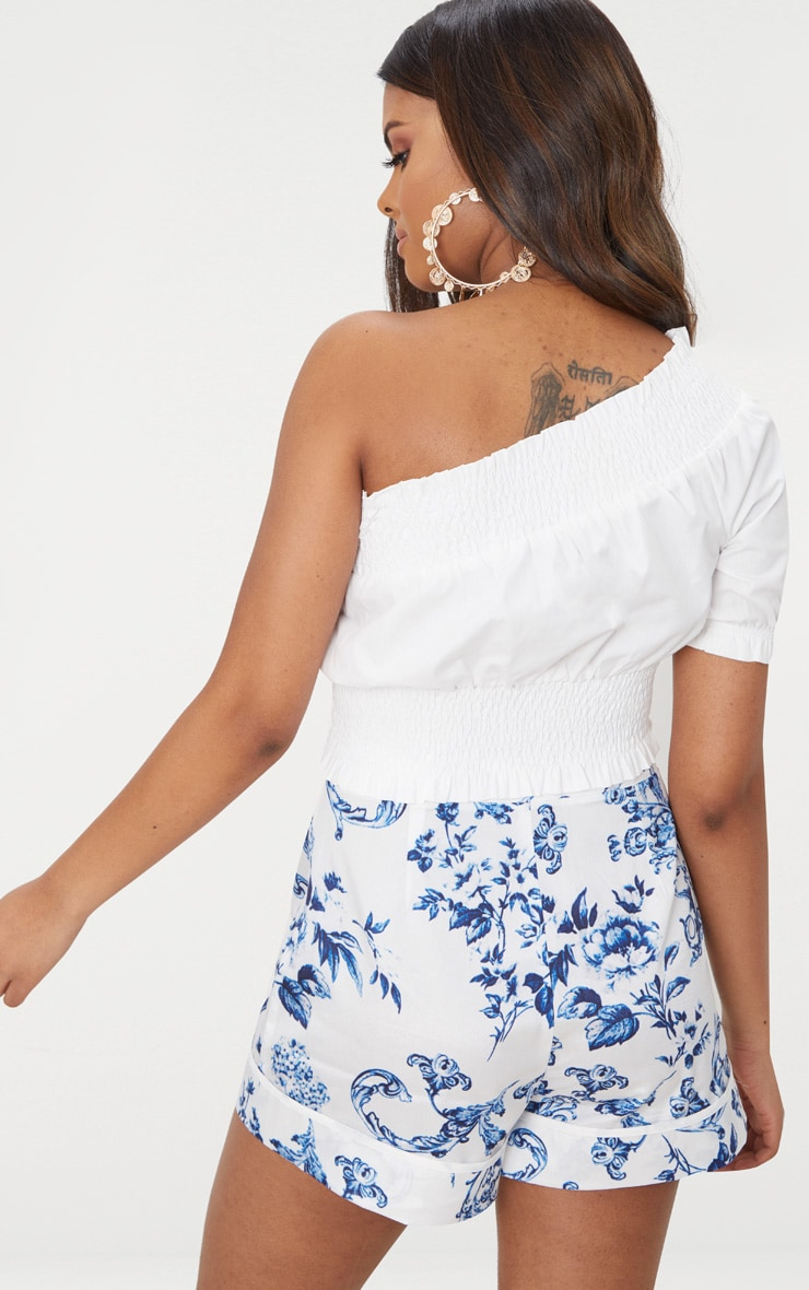 Petite White Shirred One Shoulder Crop Top 2
