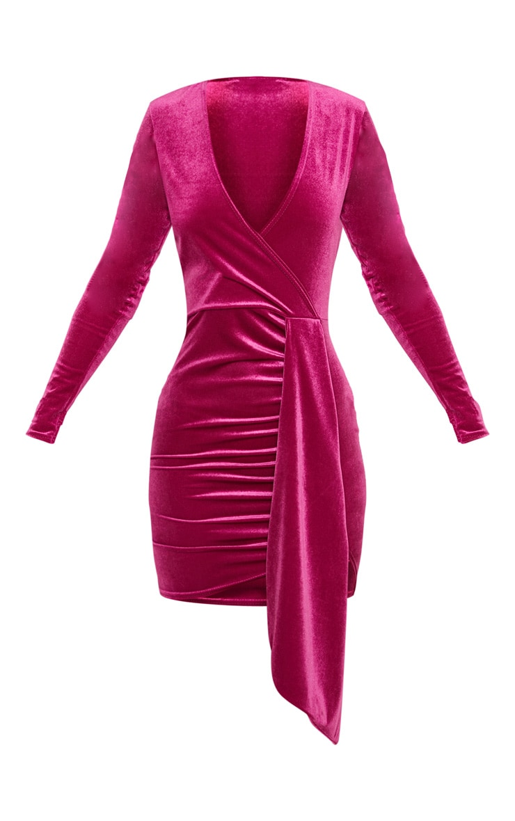 Hot Pink Velvet Drape Detail Bodycon Dress 3