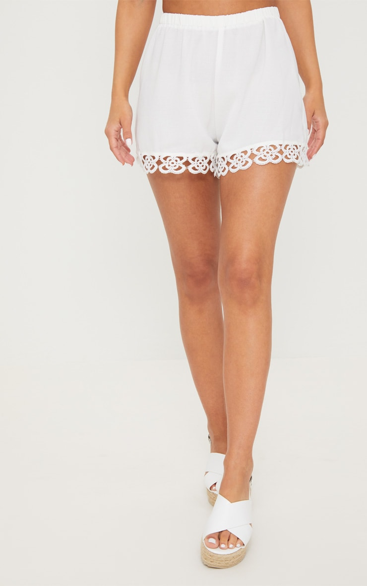 Petite White Crochet Trim Shorts 2