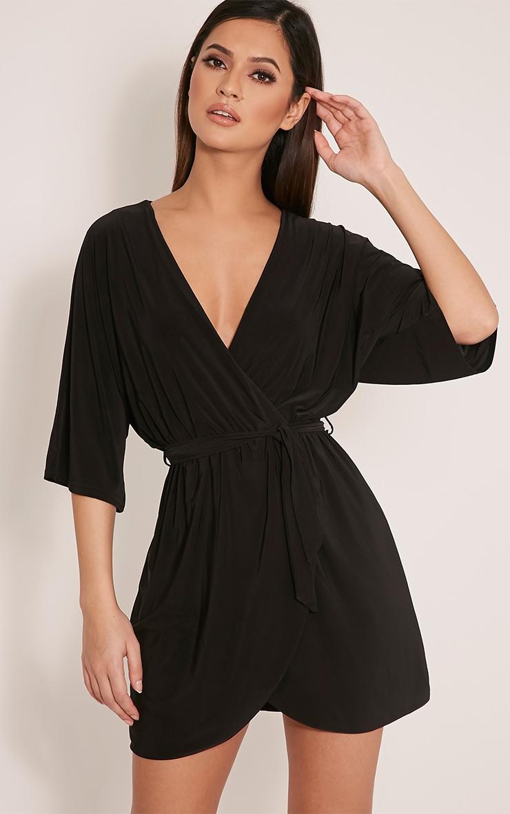 Martie Black Wrap Front Kimono Sleeve Mini Dress