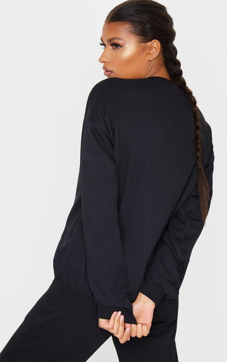 PRETTYLITTLETHING Black Badge Detail Sport Sweater 2