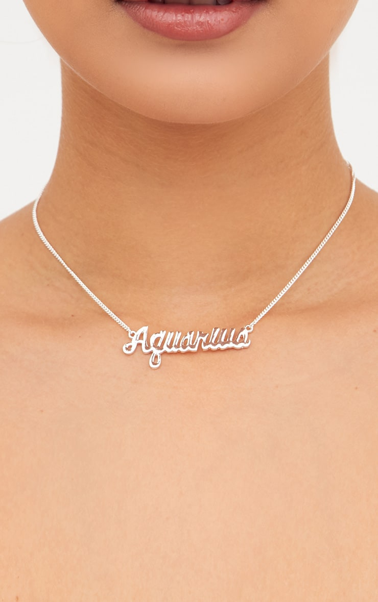 Aquarius Zodiac Silver Necklace 1