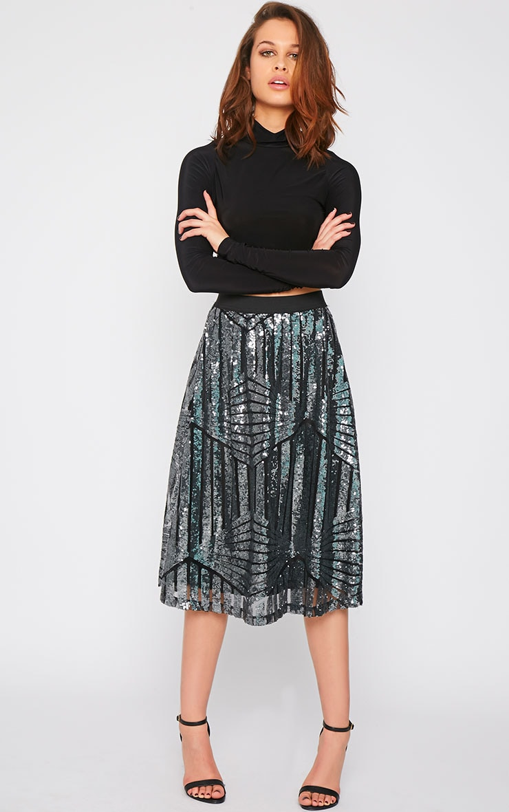 Amelia Silver Sequin Pattern A Line Skirt  1