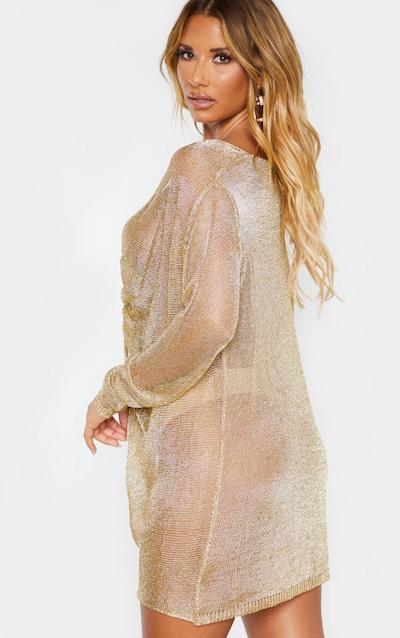 Gold Metallic Twist Front Knitted Dress