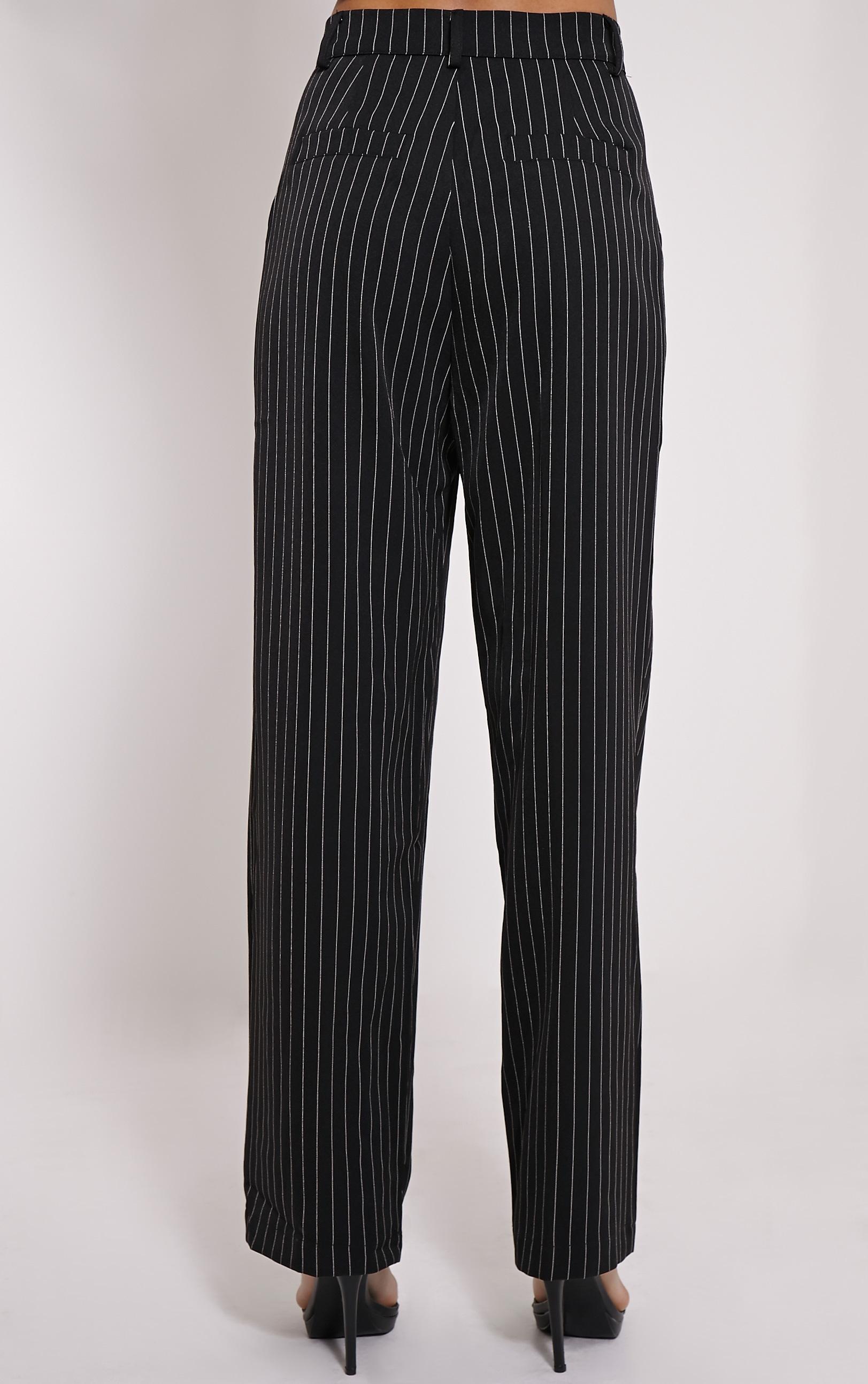 Adalyn Black Pinstripe Wide Leg Trousers 4