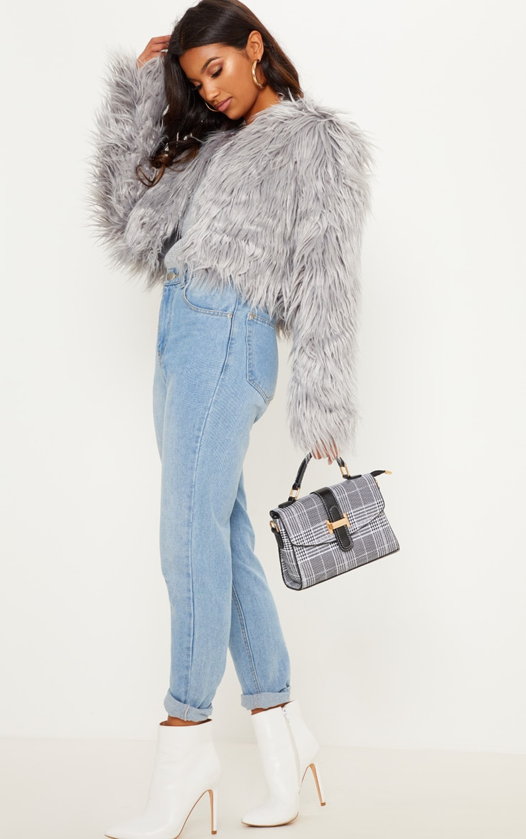 Liddie Grey Faux Fur Shaggy Cropped Jacket 4