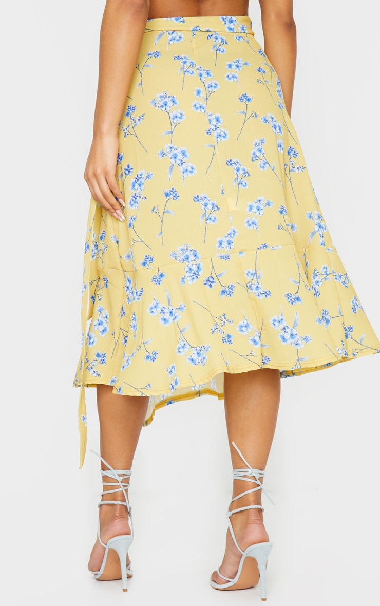 Yellow Floral Printed Frill Hem Wrap Midi Skirt 3