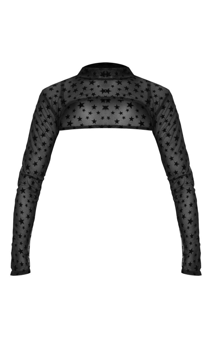 Black Star Flock Mesh Extreme Long Sleeve Crop Top 3