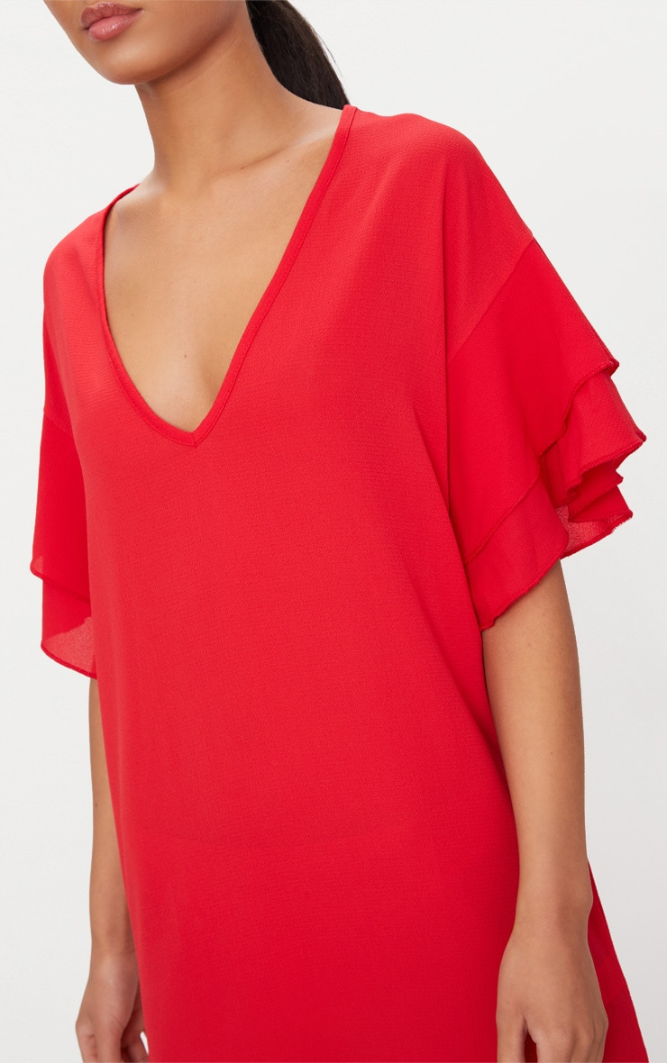 Red Double Frill Sleeve Shift Dress 5