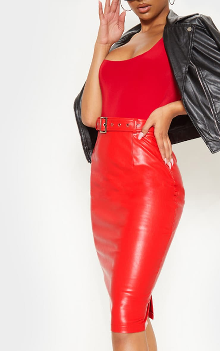 Red Faux Leather Belt Midi Skirt 5