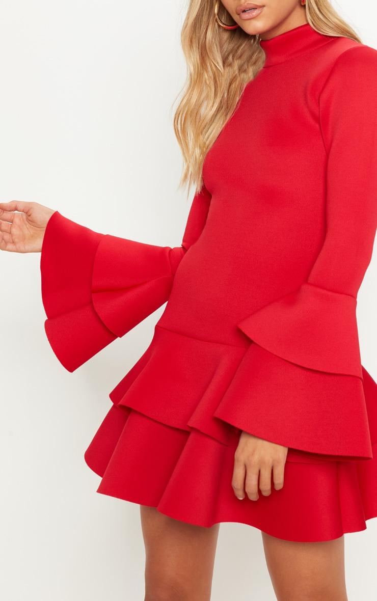 Red Bonded Scuba Ruffle Sleeve Bodycon Dress 5
