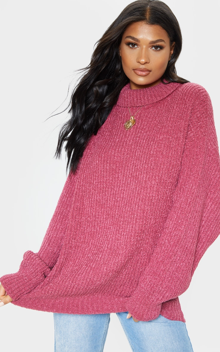b94317699 Pink Oversized Boucle Knit Sweater image 1